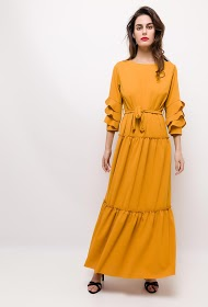 IM SHOP ruffled stretch long dress