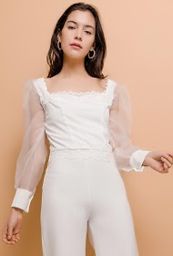 IN VOGUE blouse with transparent sleeves