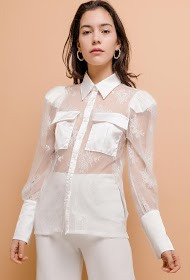 IN VOGUE transparent lace shirt