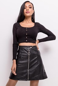 IN VOGUE leatherette zipper skirt