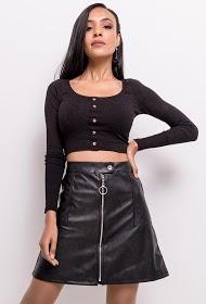IN VOGUE falda con cremallera de cuero sintético