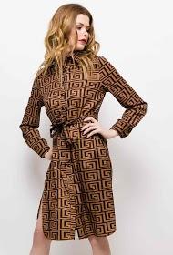 IN VOGUE patterned shirt dress