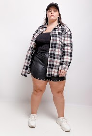 IN VOGUE plus size check overshirt
