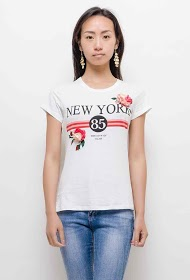 IN VOGUE new york t-shirt with flowers