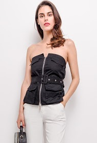 IN VOGUE zipped bustier top