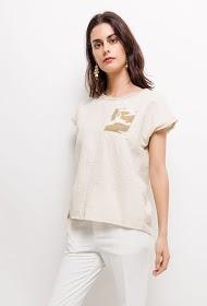 INFINITIF PARIS t-shirt bi-matière en lin et coton