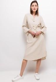 JASMINAH PARIS mixed linen midi dress