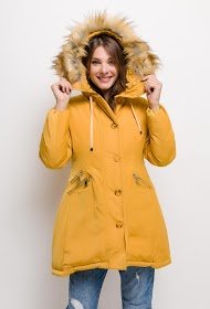 JAUNE ROUGE hooded coat with detachable faux fur