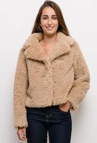 JAUNE ROUGE manteau court en fourrure