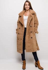 JAUNE ROUGE manteau long en fourrure