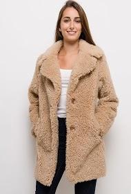 JAUNE ROUGE manteau mi-long en fourrure