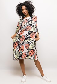JAUNE ROUGE ethnic print midi dress
