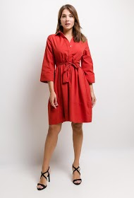 JAUNE ROUGE solid dress with shirt collar
