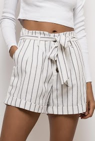 JAUNE ROUGE buttoned and striped cotton shorts