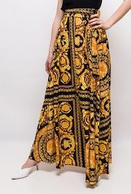 JCL PARIS baroque print long skirt