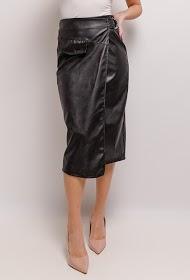 JCL PARIS falda midi de cuero sintético