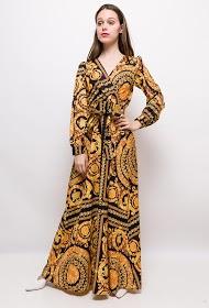 JCL PARIS baroque print long dress