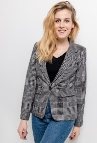 JOLIFLY check wool blazer