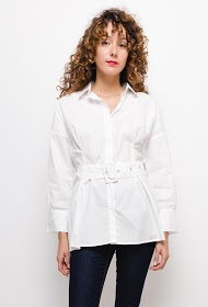 JOLIO & CO long fitted shirt with belt