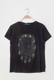 JOLIO & CO embroidered t-shirt with rhinestones