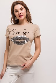 JOLIO & CO smile t-shirt with embroidered mouth