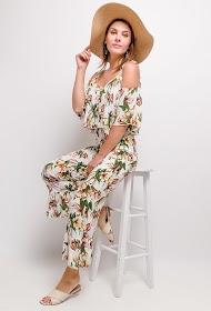 JÖWELL vegetable print jumpsuit with bare shoulders