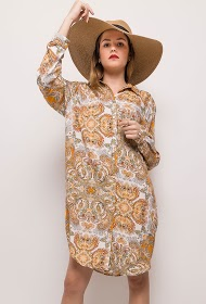 JÖWELL vestido de camisa floral de grandes dimensões