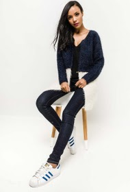 JUBYLEE long bi-color cardigan with zip at the waist