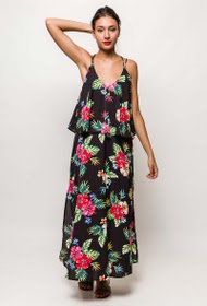 JUBYLEE long dress with tropical print