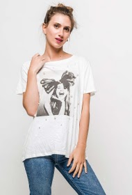 JUBYLEE printed t-shirt with pearls