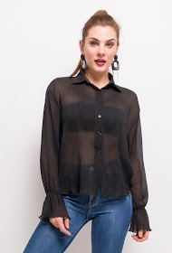 KAYCEE transparent pleated shirt