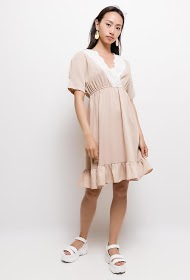 KAYCEE dress with broderie anglaise on collar
