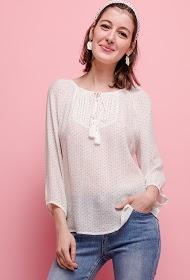 KY CRÉATION pleated polka dot blouse