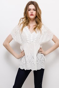 KY CRÉATION embroidered and perforated blouse