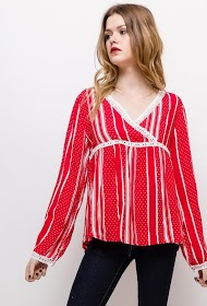 KY CRÉATION polka dot and striped blouse