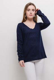 KY CRÉATION thin sweater with printed back