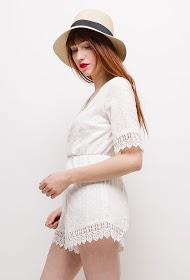 LILIE ROSE embroidered playsuit