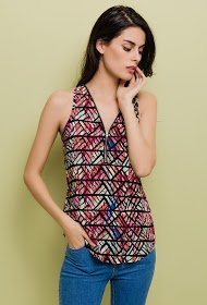 LILIE ROSE printed tank top with zipped collar