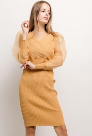 LILIE ROSE vestido com mangas transparentes