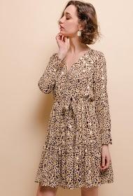 LILIE ROSE vestido com padrões dourados