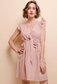 LILIE ROSE vestido bordado e perfurado