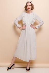 LILIE ROSE vestido longo de bolinhas