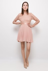 LILY MCBEE pleated dress with lace