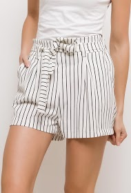 LIN&LEI striped shorts with belt