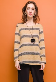 LIN&LEI striped sweater with necklace
