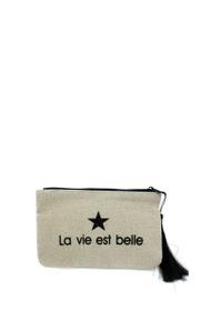 """LOLILOTA glitter fabric pouch """"life is beautiful"""" s"""