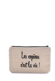 "LOLILOTA glitter fabric pouch ""girlfriends is life!"" s"