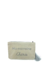 "LOLILOTA strawed fabric pouch ""my godmother darling"" s"