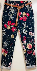 LOOKING flower pants with belt