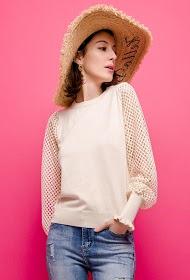 LOVIE LOOK openwork sleeved sweater